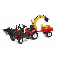 Трактор педальный Falk RANCH с ковшом и экскаваторной лапой + прицеп