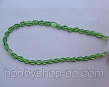 Намистина Овал плоский колір зелений 6*9 мм