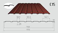Профнастил стеновой C-15 1170/1120 с полимерным покрытием 0,40мм