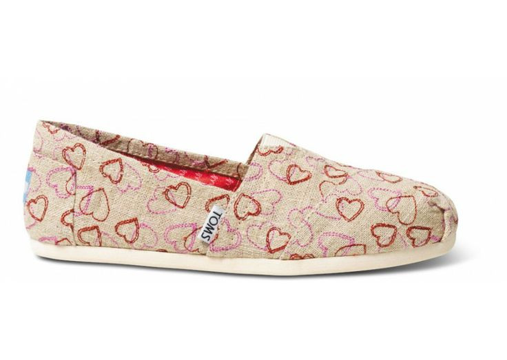 Женские TOMS Natural Embroidered Hearts Women's Classics, фото 1