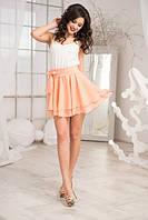 Комбинированное летнее женское платье приталенного силуэта с расклешенным низом креп шифон