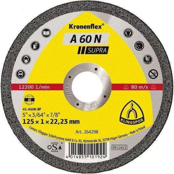 Отрезной круг Klingspor A 60 N Supra 125X1X22,23 GER