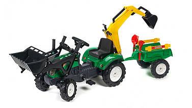 Трактор педальный с 2 ковшами и прицеп Falk RANCH зеленый