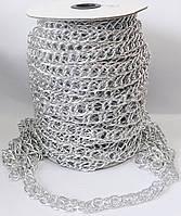 Цепь  декоративная   16*9мм  овал  двойной   никель   J-грань