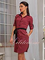 Рубашка-туника женская с поясом красная до 52р