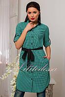 Рубашка-туника женская с поясом зеленая до 52р