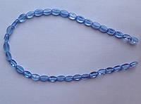 Бусина Овал плоский цвет голубой 6*9 мм