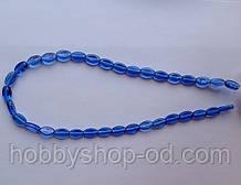 Намистина Овал плоский колір синій 6*9 мм