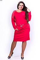 Батальное платье с карманами, вставки гипюра