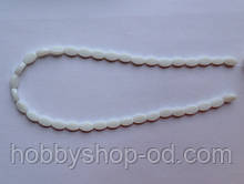 Намистина Овал плоский колір білий 6*9 мм