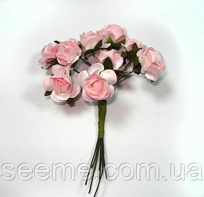 Комплект бумажных розочек, 10 шт, цвет розовый