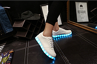 Светящиеся кроссовки лед LED белые, фото 1