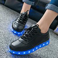 Led кроссовки со светящейся подошвой черные низкие