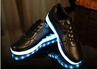 Кроссовки Led светящиеся черные
