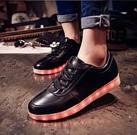 Кроссовки Led светящиеся черные для подростка