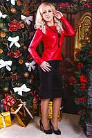Стильный женский костюм, кофта из стеганной кожи