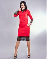 Стильный женский костюм по низу и на рукавах кружево