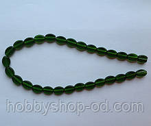 Намистина Овал плоский колір зелений темний 8*11 мм