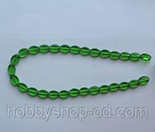 Намистина Овал плоский колір зелений 8*11 мм