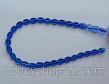 Намистина Овал плоский колір синій 8*11 мм