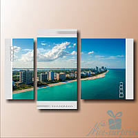 Модульная картина Побережье Майами из 3 фрагментов