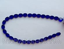 Намистина Овал плоский колір синій кобальт 8*11 мм