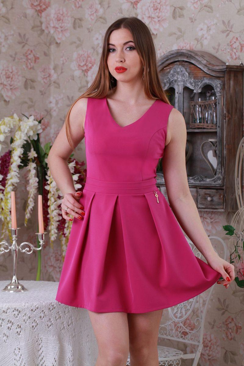 Малиновое пышное платье