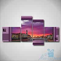 Модульная картина Мост на рассвете. Италия из 4 частей, фото 1