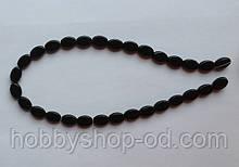 Намистина Овал плоский колір чорний 8*11 мм