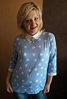 Рубашка Блуза  женская  с брошью шифон(46-48), доставка по Украине