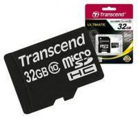Карта памяти microSDHC Transcend 32Gb class 10 + SD adapter (TS32GUSDHC10)