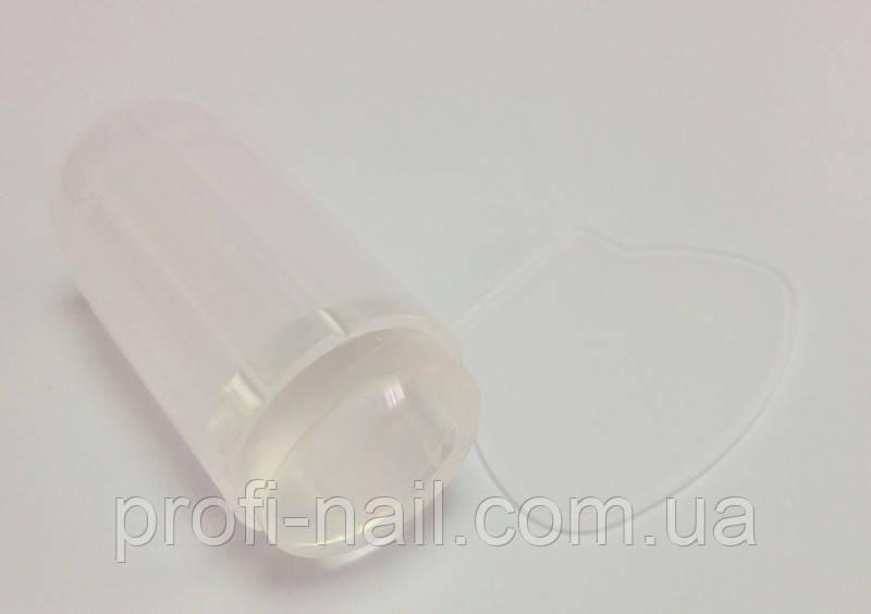 Белый штампик с прозрачной силиконовой подушечкой