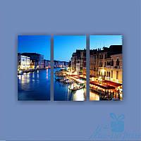 Модульная картина Ночь в Венеции из 3 модулей