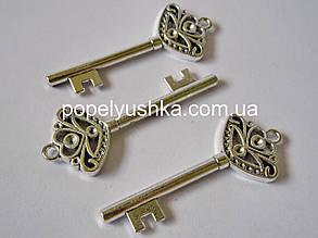 Ключ під стрази 6 см. Срібло