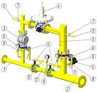Шафовий газорегуляторний пункт ШРП з регулятором MBN/65 байпас