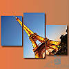 Модульная картина Париж. Эйфелева башня из 3 модулей