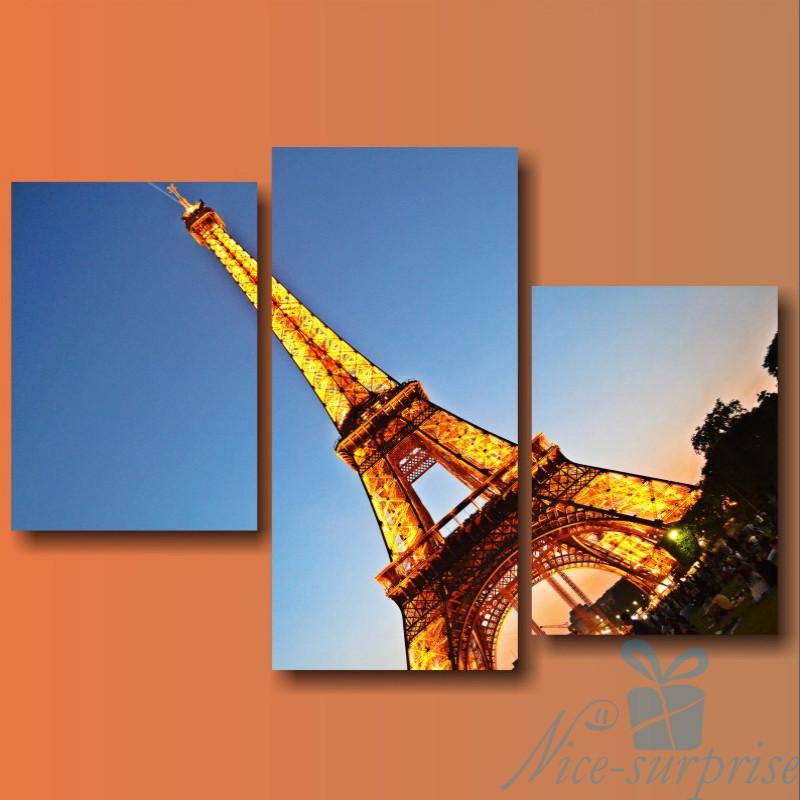 Модульная картина Париж. Эйфелева башня из 3 модулей, фото 1