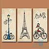 Модульная картина Триптих Парижанка из 3 модулей