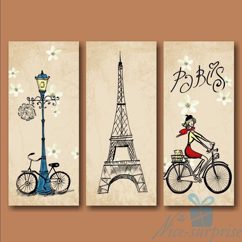 Модульная картина Триптих Парижанка из 3 модулей, фото 1