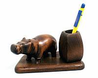 Подарочный настольный набор подставка для ручек со статуэткой бегемот