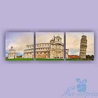 Модульная картина Триптих Пизанская башня из 3 частей