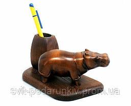 Подарочный настольный набор подставка для ручек со статуэткой бегемот, фото 3