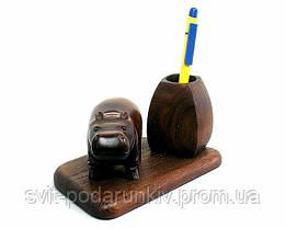 Подарочный настольный набор подставка для ручек со статуэткой бегемот, фото 2