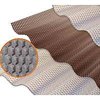 Прозрачный шифер ПВХ Salux Prisma 76/18, 2.5 х 1.03 - бронзовый, прозрачный, волна