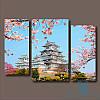 Модульная картина Химэдзи-замок белой цапли. Япония из 3 фрагментов