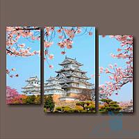 Модульная картина Химэдзи-замок белой цапли. Япония из 3 фрагментов, фото 1
