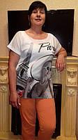Летняя футболка-двойка больших размеров( шифон+вискоза), фото 1