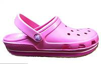 Сандалии женские Crocs (кроксы, шлепки) резиновые розовые