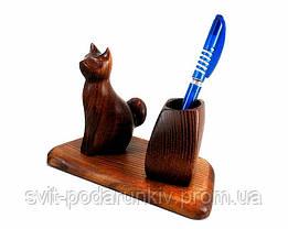 Бизнес сувенир подставка для ручек со статуэткой Кошка, фото 3