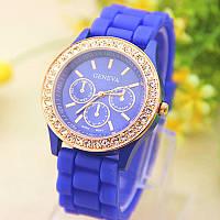 Женские часы силиконовые Geneva Relogio Feminino Dark Blue синие со стразами, фото 1